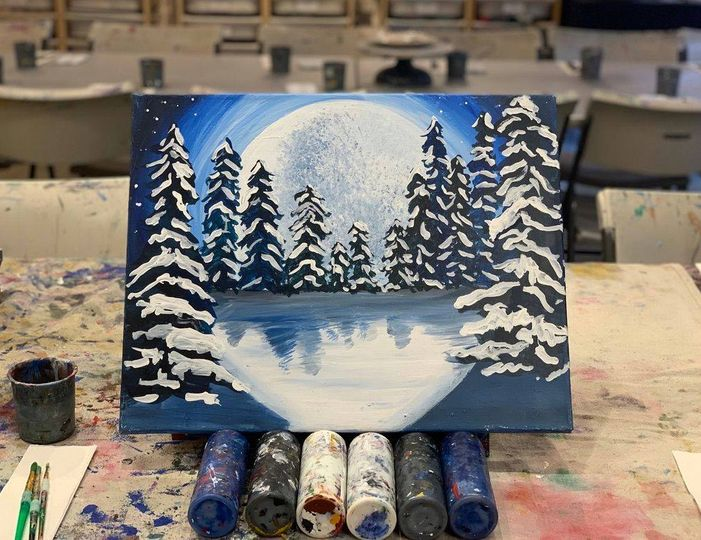 Join Alpine Arts Center for Cocktails and Canvas this Saturday at 6:30 p.m. virtually or in person. This week's subject is a scene featuring a full moon in the mountains.